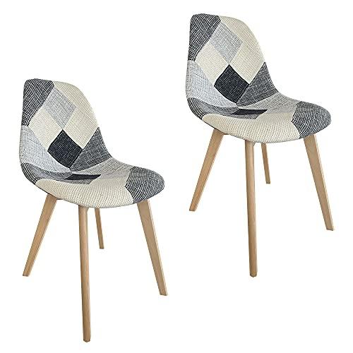 2, 4, 6 Sedie da pranzo imbottite patchwork con gambe in legno (Multicolor, 2)