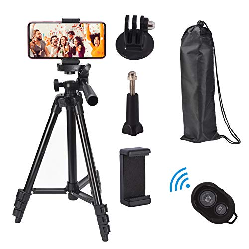 """Lightweight Tripod, 42 Inch Aluminum/Camera/Travel/Phone Tripod with Load Capacity 6.6 LB, 1/4"""" Mounting Screw for Digital Cameras, 360 Degree Shooting, Bluetooth Remote and Phone Clip, Carrying Bag"""