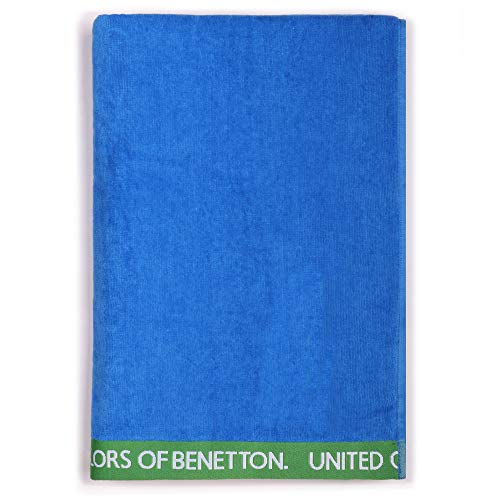 UNITED COLORS OF BENETTON, Toalla de playa 90x160cm 380gsm velour 100% algodón azul Casa Benetton, 90x160