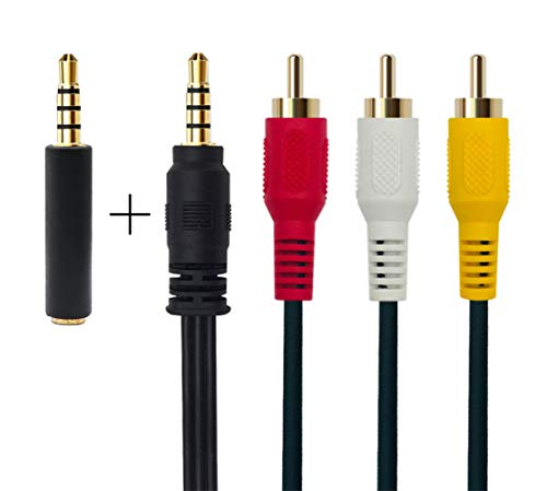 3,5 mm a 3 RCA AV Cable de vídeo videocámara para iPod/MP3/PC 3,5 mm a 3 RCA Macho a RCA estéreo Macho de Audio y vídeo Aux Cable 1,5m