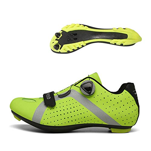 KUXUAN Calzado De Ciclismo para Hombre,Calzado De Ciclismo Sin Candado Invierno Calzado Deportivo De Montaña Y Carretera para Hombre Y Mujer Calzado De Refuerzo para Bicicleta,Green-40EU