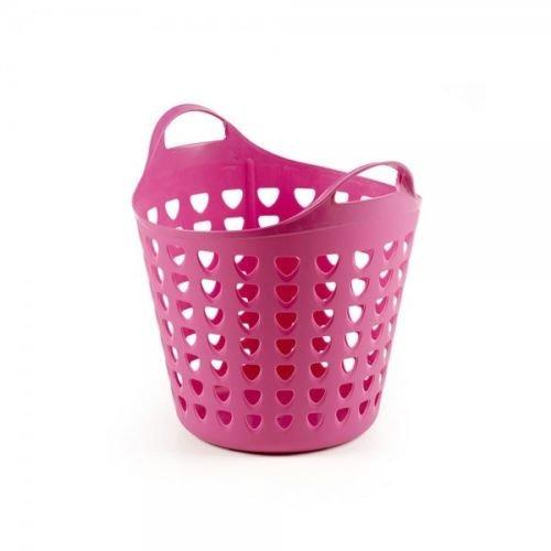 Flexibler Aufbewahrungskorb für Spielzeug, Wäsche, u.v.m. in Pink mit Belüftungslöchern. 35 Liter Volumen, mit zwei großen Henkeln. Topp