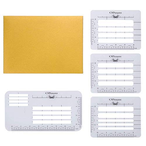 OPount 4Pcs 4 Style Envelope Addressing Guide Stencil Templates Fits Wide Range of Envelopes, Sewing, Thank You Card, Mother's Day