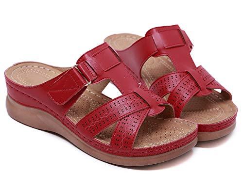 SMajong Mules de Mujer Plataforma Sandalias de Cuero Zapatillas de Moda de Verano Cómodos Zuecos Zapatos de Playa Rojo 36 EU 🔥
