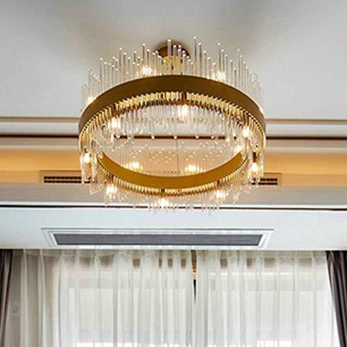 Qidofan Luces de techo moderno cristal arte sala comedor bar dormitorio oro cristal redondo lámpara de techo d60 cm decoración luces
