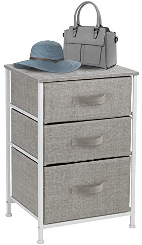 Sorbus Nightstand with 3 Drawers - Bedside Furniture & Accent End Table Chest for Home, Bedroom Accessories, Office, College Dorm, Steel Frame, Wood Top, Easy Pull Fabric Bins (Gray)