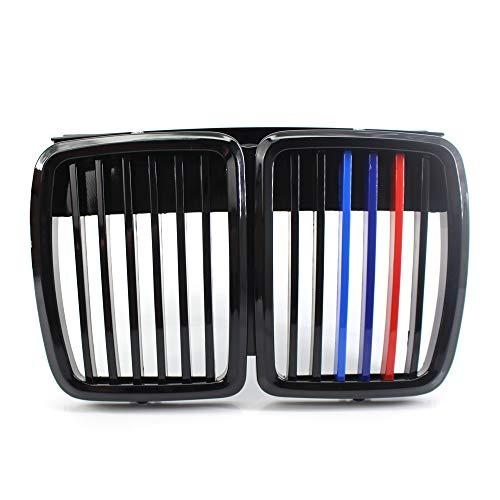 Noir brillant M-color Auto Bonnet Grilles de voiture avant Centre pare-chocs Capuche Rein Grille Grill