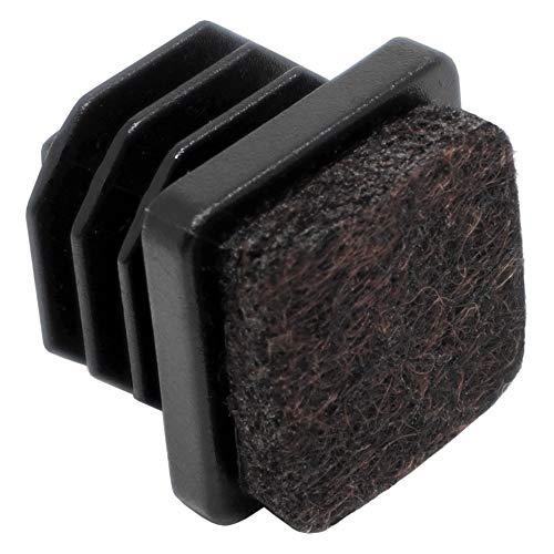 Adsamm® / 4 x Conteras entrantes con fieltro/cuadrada 18x18 mm/interior cuadrada 14x14-16x16 mm/negras/cuadradas/tapones deslizantes con fieltro para patas de tubo en primera calidad