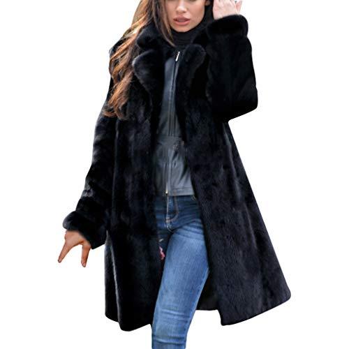 LIHAEI Damen Kunstpelz Mantel Elegant Lang Wintermantel Verdicken Pelzmantel Flaumig Warme Outwear Winter Jackemantel