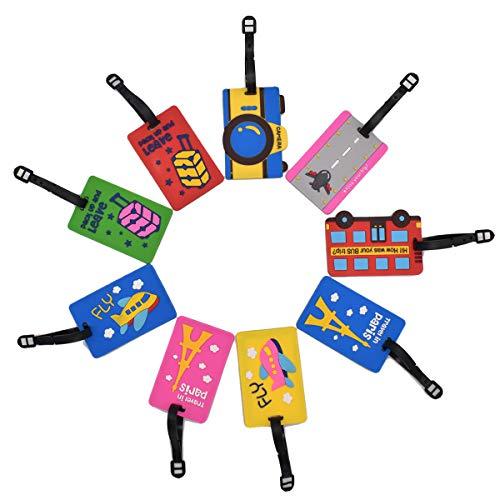 Etiqueta de Equipaje de Viaje,Liwein 9 Piezas Etiqueta de Maleta de Equipaje PVC Impermeable Silicona Etiquetas de Identificación de la Maleta con la Hebilla Bolso ID Tag Portatarjetas