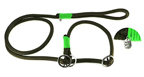Retrieverleine Olive mit Neon grün 10 mm Nr. 1 - leichte Hundeleine incl. verstellbarem Halsband aus speziell entwickeltem PPM Seil und Paracord.Mondox-Leine mit Zugstopp. Handgefertigt in Deutschland