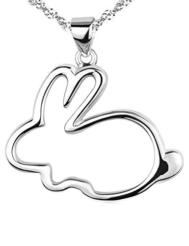 Paialco 925 Sterling Silver Bunny Pendant Necklace 1 da 2,5 cm, Placcato in rodio