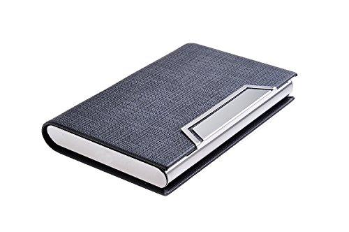 Quantum Abacus Tarjetero/Estuche para tarjetas de visita, de acero inoxidable y cuero PU, con cierre magnético, elegancia clásica de todos los tiempos, 704-01 (DE)
