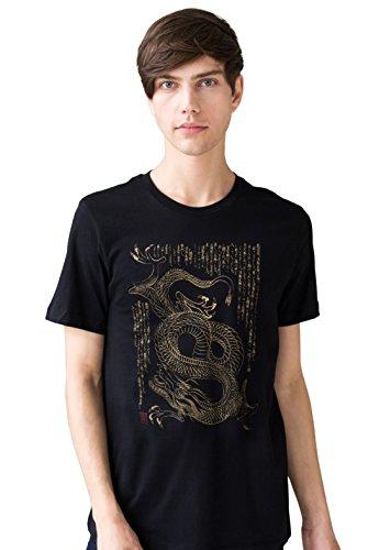 T-Shirt De Style Japonais - Dragon Ryuu T-Shirt Art Traditionnel Calligraphie Japonaise RYU Japon Arts Martiaux Yoga Tee (XL)