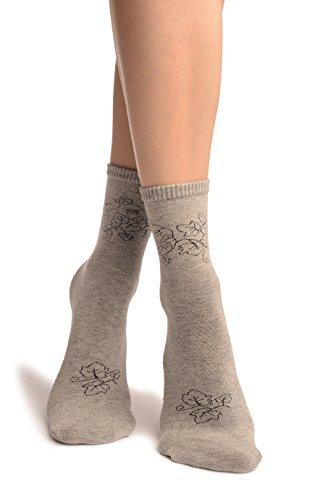 LissKiss Hedera Leaves On Grey Ankle High Socks - Grau Socken Einheitsgroesse (37-42)