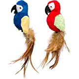 Petlinks Parrot Tweet Touch Activated Cat Toy, Blue or Red, 2 in (49468)