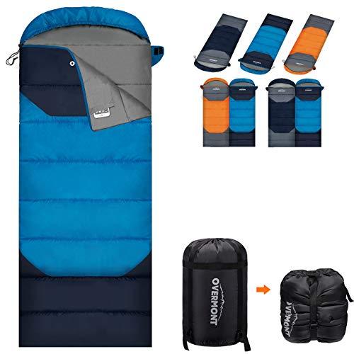Overmont 寝袋 封筒型 210T防水シュラフ 連結可能 コンパクト 軽量 防災用 アウトドア キャンプ 登山 車中泊 快適温度-5℃-25℃ 1.5kg 2kg 1年間保証