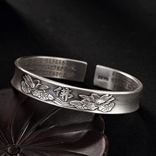 LIYDENG S999 Pie Silver Silver Ladies Pulsera Plata Pulsera Joyería Cumpleaños Regalo Silver Bangle para Mujeres Joyería (Color : A, Size : Foot Silver)
