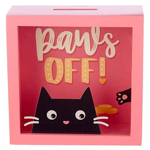 Spardose Feline Fine Katze mit Sichtfenster, Sparkästchen zum Hinstellen, lustiges Katzen-Motiv mit frechem Spruch, für Geldgeschenk, 18 x 18 x 7 cm, Holz und Kunststoff, ideal für Katzenfreunde