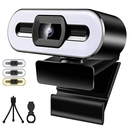 HUSHUI Webcam,USB Webcam with 3 Color Fill Light and Microphone HD 1080P USB Streaming Webcam for PC/Laptop/Desktop Computer Web Camera