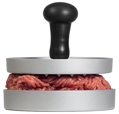 AEG AHP01 Premium Burgerpresse aus Aluguss mit Antihaftbeschichtung und Komfortgriff + 20 Blatt Backpapier/Hamburgerpresse/Hamburger-Presse/Burger Maker/LFGB zertifiziert
