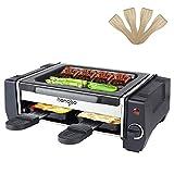 Mini Raclette grill, Parrilla de Mesa Antiadherente Grill, Acero Inoxidable - 500W