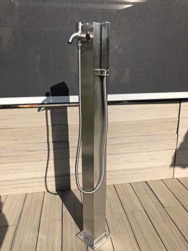 Mini Solardusche , gebürsteter Edelstahl 11 Liter Gartendusche, Pooldusche , Wassersäule Wasserzapfsäule Wasserzapfstelle Brunnen