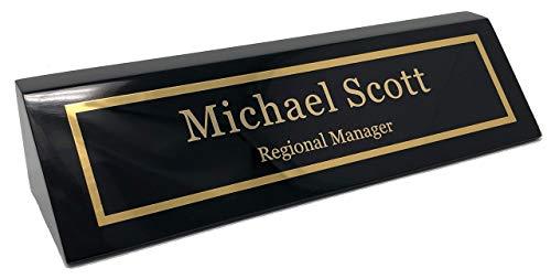 Personalized Business Desk Name Plate, Black Piano Finish - Includes Engraving