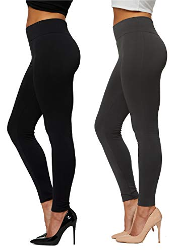 Conceited Fleece Lined Leggings for Women in 20 Colors - Reg & Plus Size - Warm Winter Sweatpants Thermal Yoga 2-Pack Black & Charcoal Grey - Large - X-Large