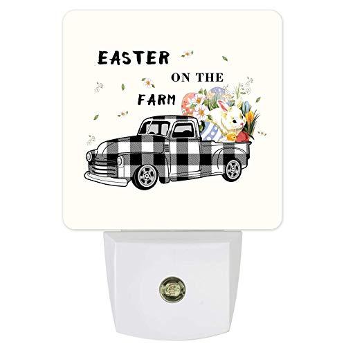 Lámpara de noche con sensor de luz LED de pared con diseño de huevos de conejo de Pascua y flores para dormitorio, lactancia de bebé, pasillo, escaleras, decoración rústica para el hogar