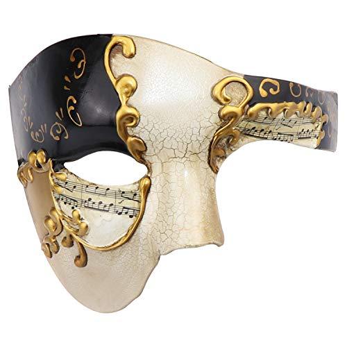 Thmyo Fantasma clásico de la Cara de los Hombres de la Mitad del diseño de la Vendimia de la máscara Veneciana del Carnaval de la ópera del Fantasma (Beige y Negro)