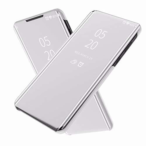 FTRONGRT Funda para Sony Xperia 5 III,Flip Cover Carcasa, Inteligente Case [Soporte Plegable] Caso Duro con del sueño/Despierte Función -Plata