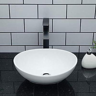 "Oval Vessel Sink - Kichae 16""x13"" Modern Bathroom Sink Egg Oval Shape Countertop White Porcelain Ceramic Vessel Vanity Sink Art Basin"