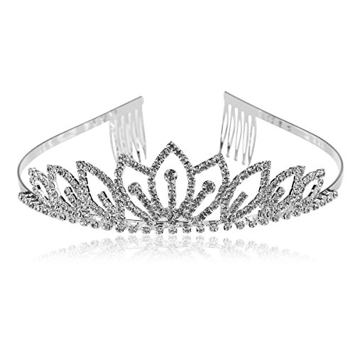 Rosenice Diadem, Krone mit Haarkamm, Tiara, Kristall, Strass, Blume, für Braut