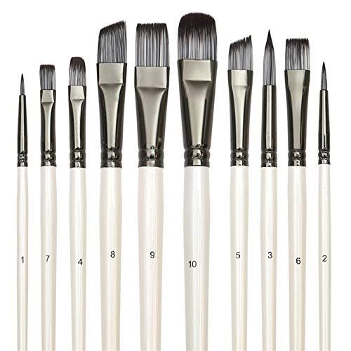 JSBAN Pinceles de Pintura Set para Art Gouache Aceite Acuarela Artista Lienzo Sintético Nylon Tips 10 Pack (Color : White)