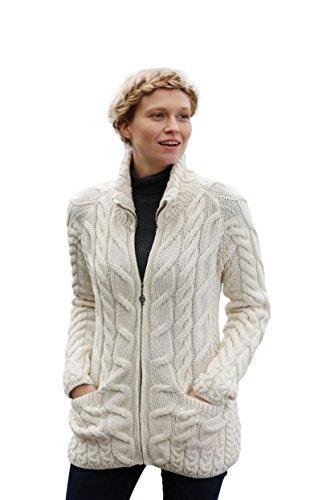 Arran Woolen Mills Irische Strickjacke mit Reißverschluss und Rollkragenpullover (Natürlich, L)