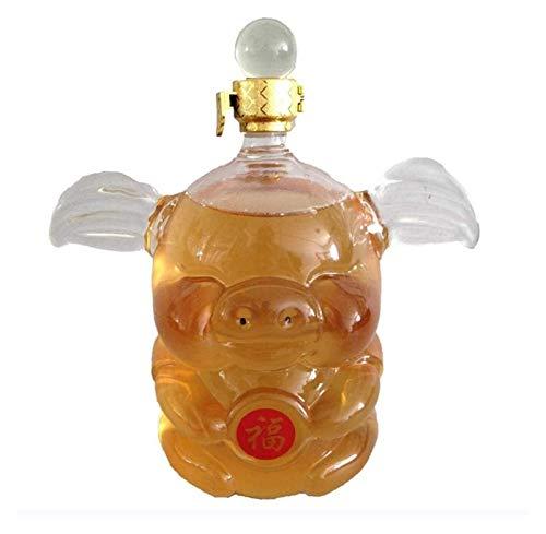 AIEL Whisky Decanter Crystal Wine Decanter Set, 500 / 1000ml Animalizado Personalizado Cara de Vino Tinto, Plomo soplado a Mano Cristal Cristal Cristal, Dispensador de Licor Libre único 45