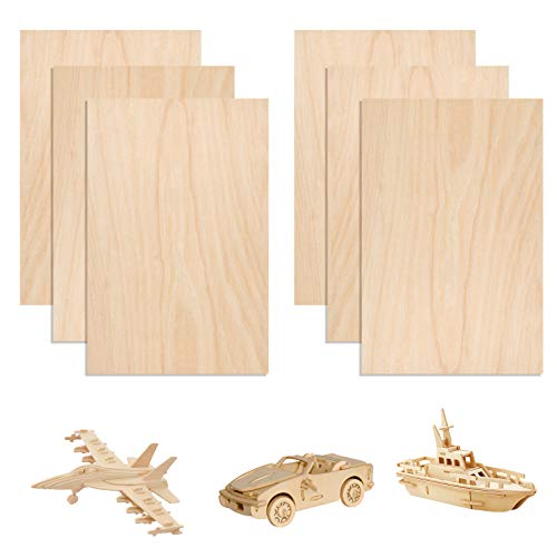 6 Pack Wood Sheets Basswood Sheets Balsa Wood Sheets Baltic Birch Plywood for Crafts DIY House Aircraft Ship Boat DIY Wooden Plate Model 300x200x1.5mm