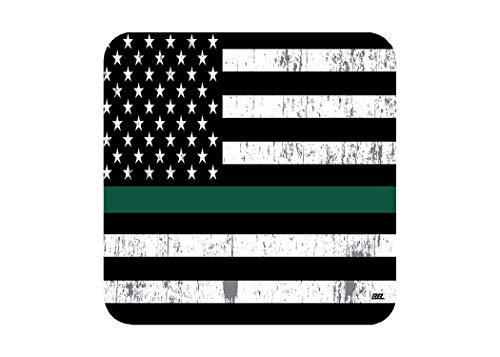 The Thin Green Line Getränkeuntersetzer Set Geschenk für US Militär Veteran B&esgesetz Durchsetzung Border Patrol Park Rangers Game Warden