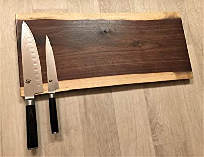 "Gorgeous, Handcrafted Double Live Edge Dark Walnut Magnetic Knife Rack/Holder/Storage. 20"" x 9"". Holds 10 Knives. Full Mounting Hardware. from"