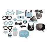 Oblique Unique® 20 Fotorequisiten Foto Props Booth Masken für Baby Shower Party Neugeborene Junge...
