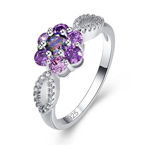 YAZILIND Flower Cut Cubic Zirconia Purple Rhinestone Ring Silver Plated Wedding Jewellery Gift for Women Size N
