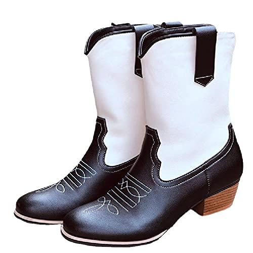 Kvinnor Western Cowboy Style Ridning Ridskor Skor Läder spetsig tå Mid Calf Knight motorcykelskor,36