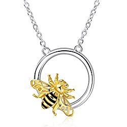 BUMBLE BEE HAND PAINTED BEE CAMEO NECKLACE 925 PLATED CHAIN UNIQUE