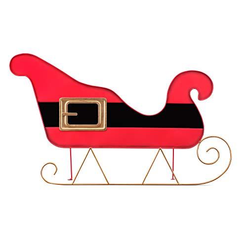 "Mr. Christmas 30"" Oversized Indoor/Outdoor Metal - Sleigh - Santa Belt Tree Collar Christmas Décor, Red"
