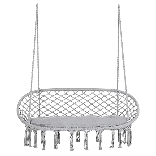 Outsunny 2-Person Hammock Chair Macrame Swing with Soft Cushion, Hanging Cotton Rope Chair for Indoor Outdoor Home Patio Backyard, Grey