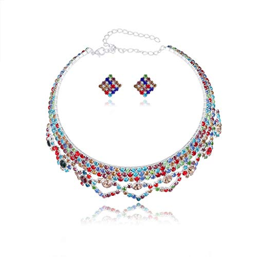 DealMux Conjunto de joyería nupcial para mujer para boda Pendiente de collar con colgante de lágrima de cristal - Colorido