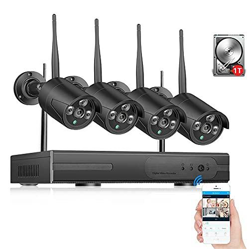 Sistema De Cámara De Seguridad Inalámbrica 1080P Con 4 PIEZAS Cámaras,Al Aire Libre.IP66 Impermeable,Visión Nocturna,Registro De Movimiento 7x24,Alerta De Movimiento ( Size : Standard Kit+1TB HDD )