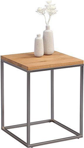HomeTrends4You Ralf Beistelltisch, Holz, Metall Edelstahloptik Wildeiche Massiv Geölt, 40 x 40 x 52 cm