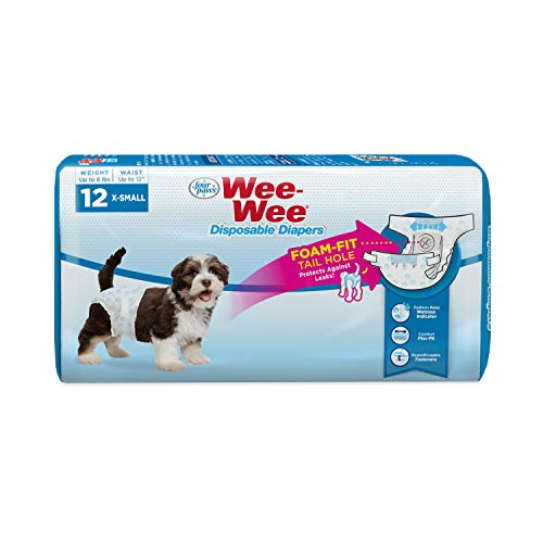 Four Paws Wee-Wee Disposable Dog Diapers 12 Count X-Small